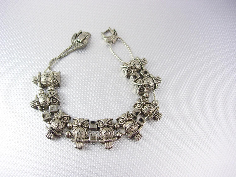 vintage owls silver slide bracelet charm style crescent moon