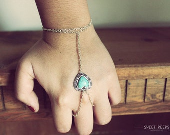 Turquoise Heart Slave Bracelet Chain Hand Piece Boho Bracelet Sliver Chain