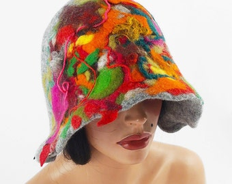 Felted Hat Cloche Hat Grey Hat Flapper hat wearable art multicolor hat wool felt nunofelt nuno felt silk eco fiber art