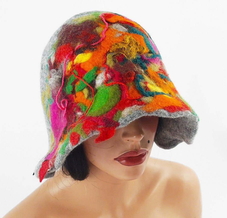 Wearable Art Hats: Felted Hat Cloche Hat Grey Hat Flapper Hat Wearable Art