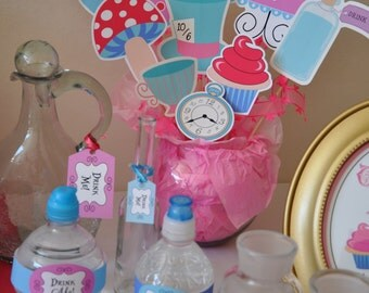 Alice in Wonderland Mad Hatter Tea Party NON-PERSONALIZED PDF party decoration package - ideal for Onederland birthday, baby / bridal shower