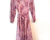 plus size vintage lavender and orange floral dress 1980s VTG 80s large size 14 size 16 plus size ladies clothing  dress vintage clothing