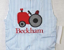 291775-Baby Boy Clothes - Childrens Clothes- Baby Clothes - Boy Jon Jon - Red Tractor Baby - John Deere Inspired - Tractor Applique - Romper