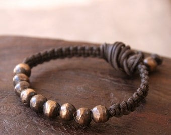 Solid Bronze Beaded Macrame Bracelet - Made to Order