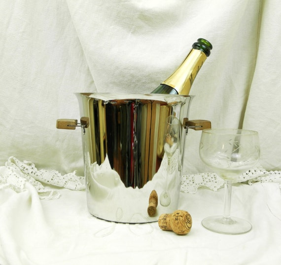 Vintage Mid Century French Stainless Steel Champagne and Teak Handles Ice Bucket, Retro 1960s Metal Wine Cooler from France, Barware