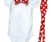 Matching bowties - Father Son Bow Tie Sets - Red Gingham - Father's Day