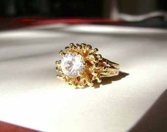 14K Gold Ring, Sputnik Setting, 14 Karat, Solid Gold, Vintage, CZ, Cubic Zirconia, Free Form, Floral, Nugget, Cocktail Ring,