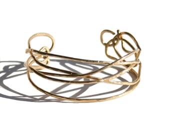 14K Gold Filled Hammered Cuff, Gold Bracelet