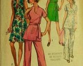 "Dress, Top & Pants -  1970's - Simplicity Pattern 8845   Size 16 1/2  Bust  39"""