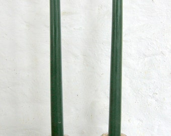 "Pair Beeswax 12"" Green Taper Candles Hand Crafted By The Beekeeper"