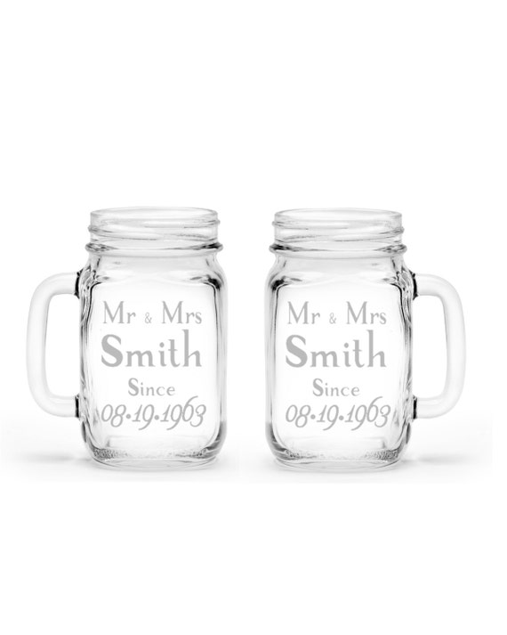 set of 2 Anniversary or Wedding Gift Custom Etched Handled Mason Jar 16oz Eco Friendly