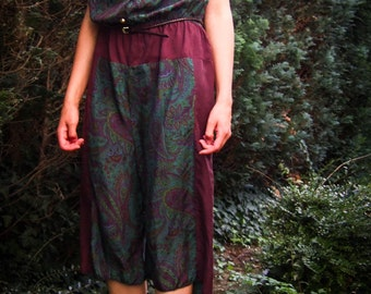 SALE 25%: Upcycled silk overall, S/M, Paisley Muster
