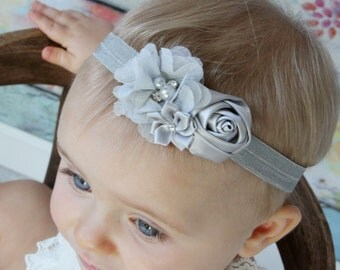 Gray chiffon headband, Girl Headband,  grey Baby girl Headband, newborn headband,