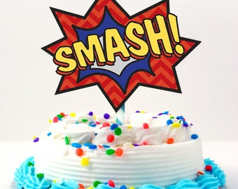 Superhero Smash Cake Topper DIY Printable In Yellow Blue Red