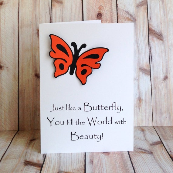 Butterfly handmade card for her birthday card for daughter mom