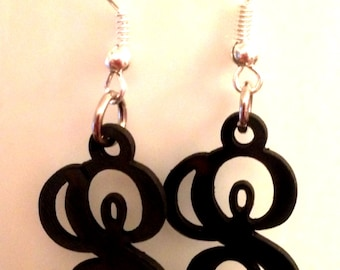 Recycled VINYL RECORD Initial Earrings