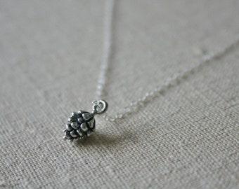 Silver Pine Cone Necklace //