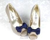 Navy Blue Shoe Clips, Navy Bow Shoes Clip, Dark Blue Wedding Shoe Clip