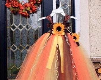 Fall Tutu Dress, Fall Tulle Dress, Sunflower Tutu Dress, Thanksgiving Tutu Dress, Fall Tutu Dress with Sunflower