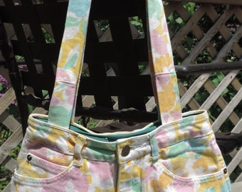 Large Lined Spring Floral Purse / Handbag / Tote Bag, Handmade from Upcycled/ Recycled Floral Print Jeans, Inside is Lined w/ Pockets