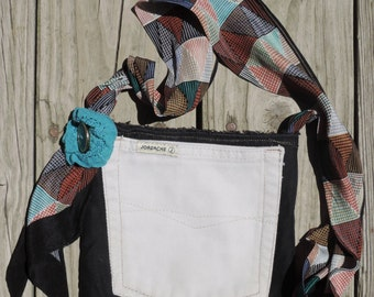 Small Black Denim Lined Cross Body Purse/Bag, Upcycled/Recycled from Jean Pockets, Perfect for Dog Walks, Amusement Parks, Wine Tours, etc.