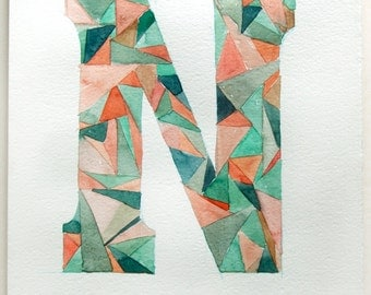 Letter N watercolor painting. Typography art. Geometric painting. Personalized gifts. Mint coral watercolor painting. Small watercolor