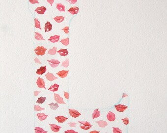 Watercolor painting of letter L. Original art. Typography art. Art watercolor. Small watercolor with pink and red lips. Decorative art.