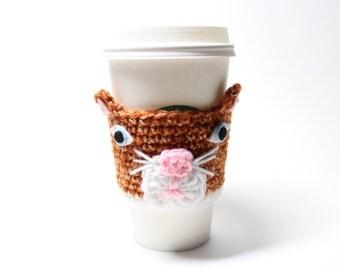 Cat Coffee Cozy, Coffee Sleeve, Animal Crochet Can Cozy, Travel Mug Cup Holder, Kitty Java Jacket