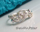 Pearl Ring Wire Wrapped Jewelry Handmade Wire Ring Swarovski Pearl or Crystal Wire Wrap Ring Silver Wire Handmade Ring ITEM0311