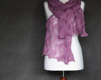 READY to SHIP! Fuchsia scarf, hand knit shawl, fuchsia shawl, lace shawl, knit scarf, shawl wrap, women shawl, shawl payette,wedding scarf
