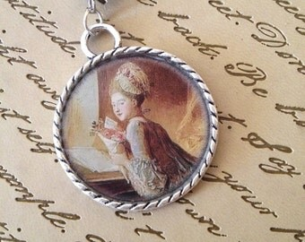 Georgian Lady Round Resin Charm Pendant with Beads Necklace Romantic Historical Boho Gifts Under 10
