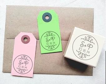 Whimsical Wedding Stamp. Custom Wedding Stamp for Wedding Tags, Wedding Favors, Wedding Invitations. Personalized Wedding Rubber Stamp