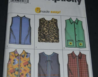Simplicity 9850 Childs and Girls Lined and unlined Vests Sewing Pattern - UNCUT - Sizes 3 4 5 6 or Size 7 8 10 12 14