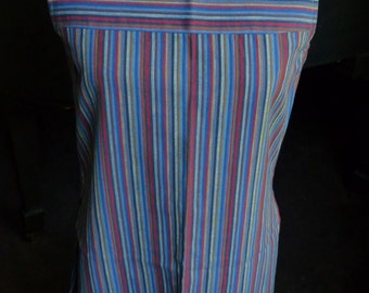 "60s Tunic Dress, Blue Striped Cotton, 32"" Bust"