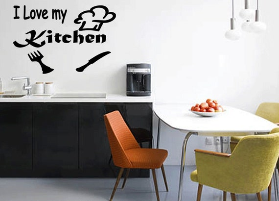 My Kitchen Wall Decor : I love my kitchen wall quote decal sticker art vinyl m