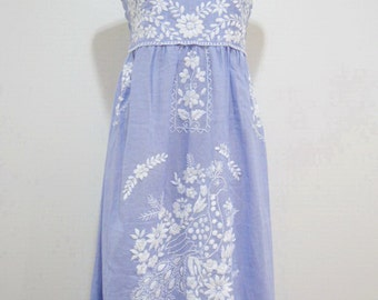Embroidered Mexican Sundress Cotton Strapless in Blue with Lining