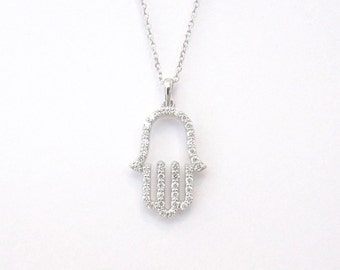 14k Gold and Diamond Hamsa - Hand of God Necklace (20mm size)
