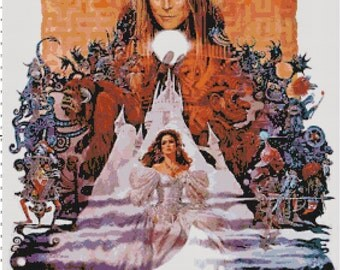 Handmade Vintage Labyrinth Movie Poster PDF Cross-Stitch Pattern
