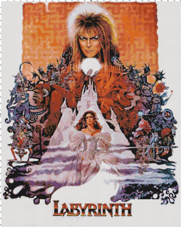 Handmade Vintage Labyrinth Movie Poster PDF Cross-Stitch Labyrinth 1986 Poster