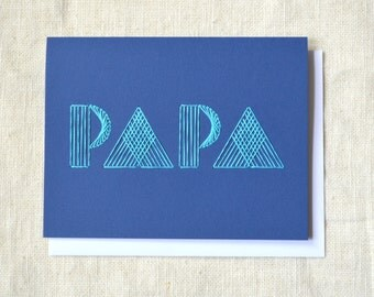Papa Card - Typographic Father's Day Card - Embroidered Light Blue on Dark Blue