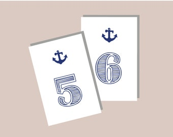 1-20 Instant Download - Printable Nautical Modern Table Numbers in WHITE with Navy Design DIY, Wedding reception (1-20), Classic Wedding