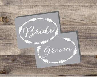 INSTANT Download - Gray Bride and Groom Chair Signs - DIY, Wedding reception, Mr Mrs Chair Signs,