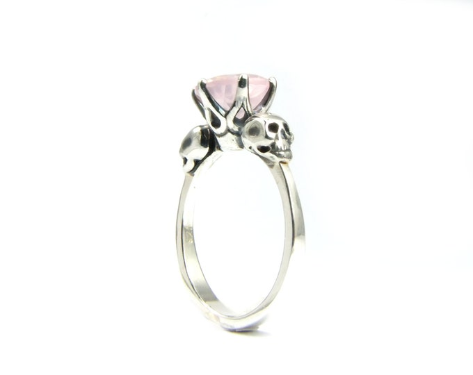 Skull Engagement Ring with Pink Gemstone Rose Quartz in Sterling Silver - All Sizes