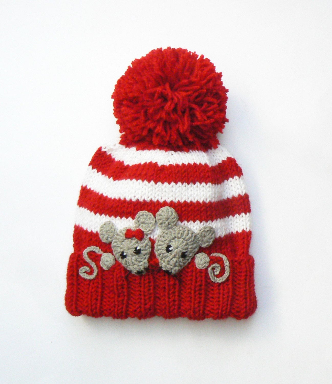 Knitting Kids Hat : Knit hat kids winter beanie pom