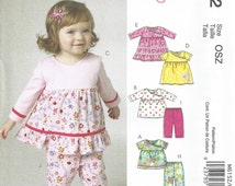 Toddler Tunic Top Dress Pattern Pant Panty S M L (to 25 Lbs) McCalls 6152