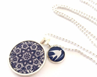 White Swallow on Navy Blue Double Pendant Resin Silver Necklace