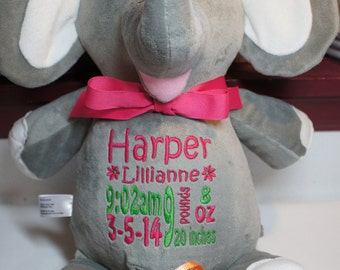 Personalized elephant gift birth announcement stuffed animal personalized baby gift baby cubbies elle the elephant newborn gift birth negle Gallery