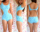 Incredible 60's One-piece swimsuit // Blue & White // Small