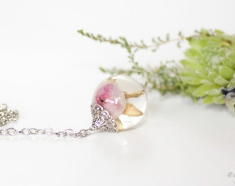 Real rose necklace -Pink rose pendant -Resin pendant -Botanical jewelry