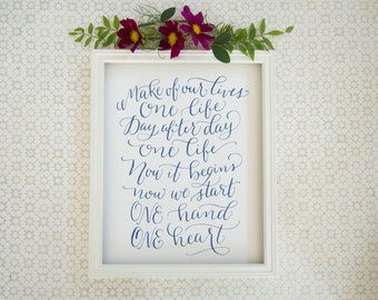 One Hand, One Heart West Side Story | Calligraphy Print